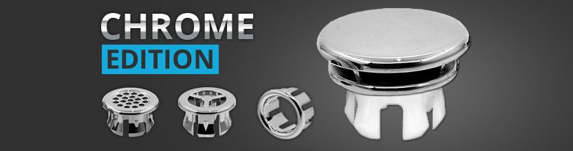 Waschbecken Chrom Design Abdeckung, Überlaufblende, Clip